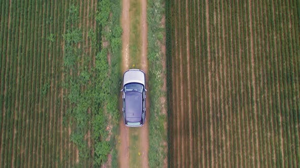 Thumbnail for Bird's Eye View of a Luxury SUV Driving Off Road