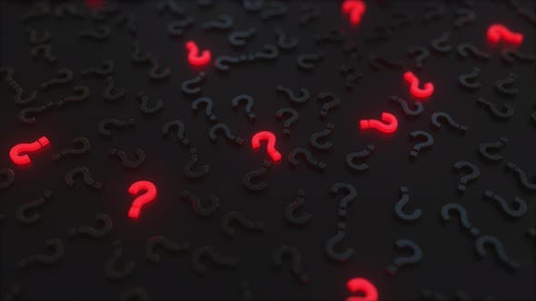 Glowing Red Question Marks Among Black Ones
