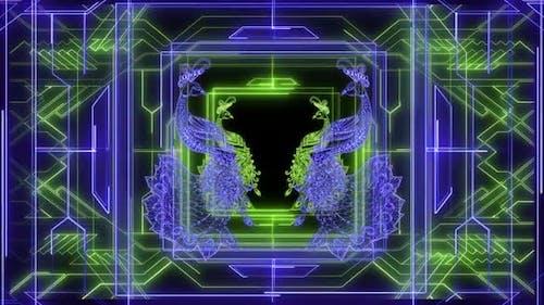 Peacock On Art Deco Neon