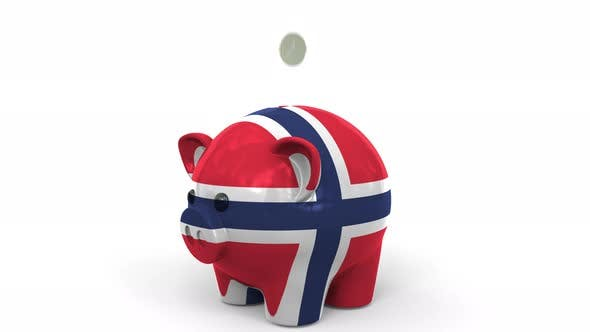 Thumbnail for Coins Fall Into Piggy Bank Painted with Flag of Norway