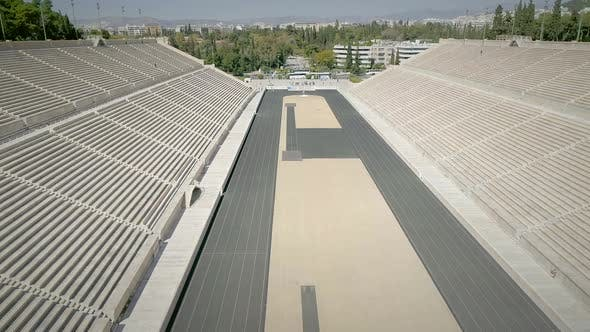 Thumbnail for Aerial view of the Panathenaic, Kallimarmaro Stadium and the city skyline.