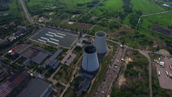 Thumbnail for Industrial Pipe on Hydro Power Station. Aerial View Industrial Chimney at Plant