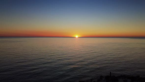 Awesome Aerial View of Sea Sunset