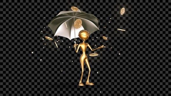 Thumbnail for Gold Man 3D Character -  Cartoon Money Rain