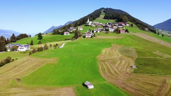 Wonderful Landscape of Small Town in the Austrian Alps