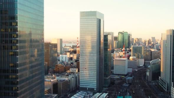 Thumbnail for View To Tokyo City and Railway Station in Japan
