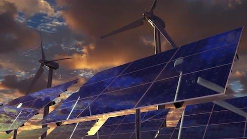 Alternative Energy with Turbine Generator and Solar Panels on Electrical Farm