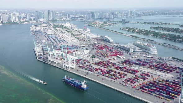 Thumbnail for Daytime Aerial View of Port Miami. Transport and Logistic Center on Its Everyday Life