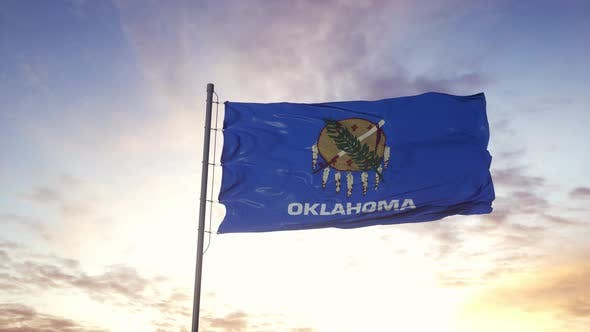State Flag of Oklahoma Waving in the Wind
