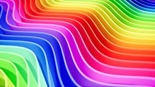 Rainbow Colored Curved Lines Intro for Your Video
