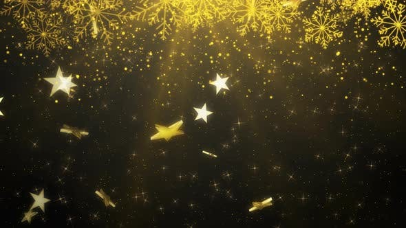 Thumbnail for Gold Snowflakes Falling Shiny Background 01