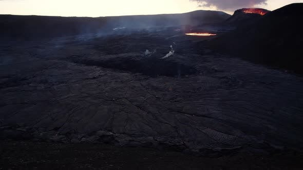 Drone Over Volcanic Landscape Of Lava From Fagradalsfjall Volcano