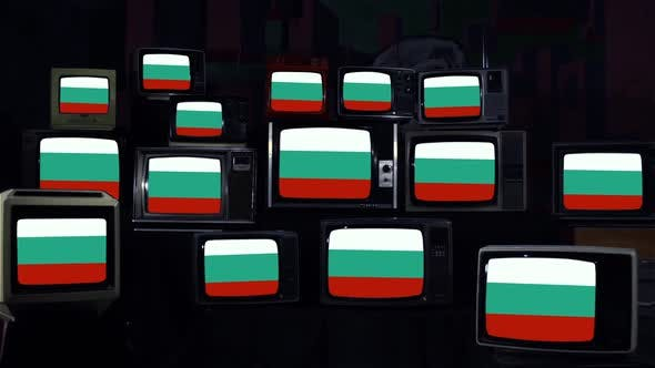 Flags of Bulgaria and Retro TVs.