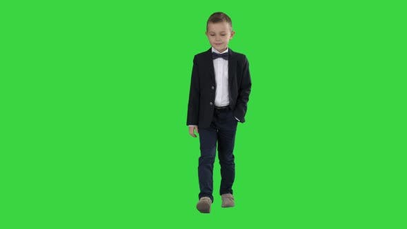 Thumbnail for Boy in Formal Costume Walking with a Hand in Pocket on a Green Screen, Chroma Key.