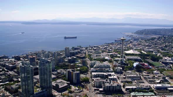 Thumbnail for Aerial Flying Over Seattle Center With Puget Sound Background