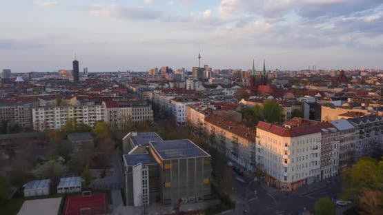 AERIAL: Beautiful Sunset Drone Hyper Lapse, Motion Time Lapse Over Berlin Cityscape with