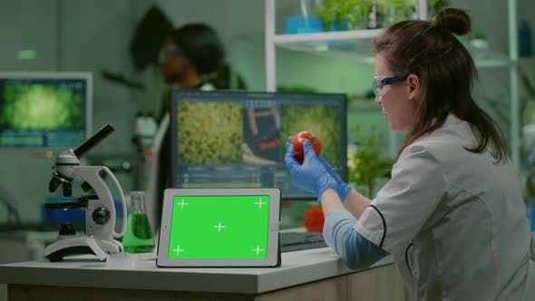 Chemist Researcher Typing Microbiology Expertise on Compute
