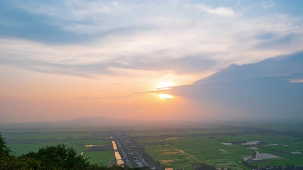 Thumbnail for Time lapse top viewpoint on Mekong Delta water canals rice fields sunset Vietnam