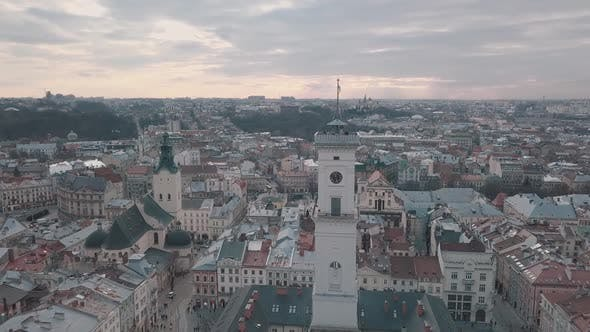 Aerial Panorama of the Ancient European City Lviv, Ukraine. Town Hall, Ratush