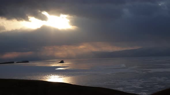 Time Lapse of Sunset on Baikal Lake in Winter