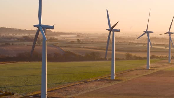 Thumbnail for Modern wind farm at sunrise