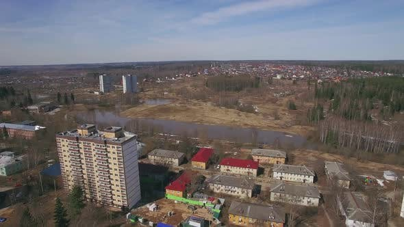 Thumbnail for Aerial Shot of Township in City Outskirts, Spring View. Russia