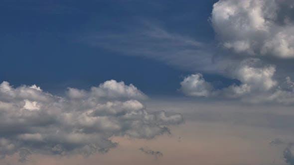 View of Turbulent Cumulus Clouds