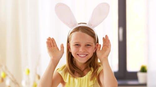 Girl in Easter Bunny Ears Playing Peek a Boo Game 35