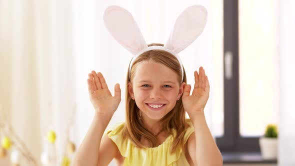 Thumbnail for Girl in Easter Bunny Ears Playing Peek a Boo Game 35