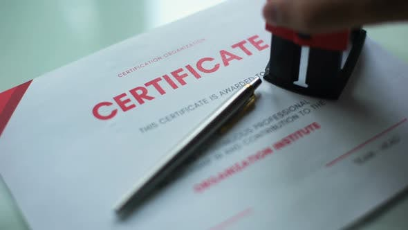 Thumbnail for Certificate Document Pending, Hand Stamping Seal on Official Paper, Verification