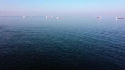 Industrial Cargo Vessel Ships on Sea Water