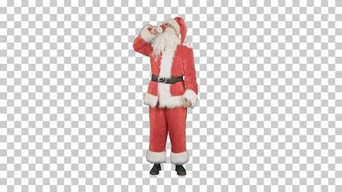 Santa Claus drinking hot tea or coffee, Alpha Channel