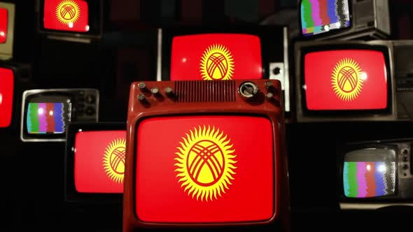 Flag of Kyrgyzstan on Stack of Retro TV.