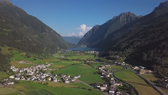 Thumbnail for Aerial View of Val Poschiavo Valley, Switzerland
