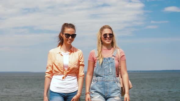 Thumbnail for Teenage Girls or Friends Walking at Seaside