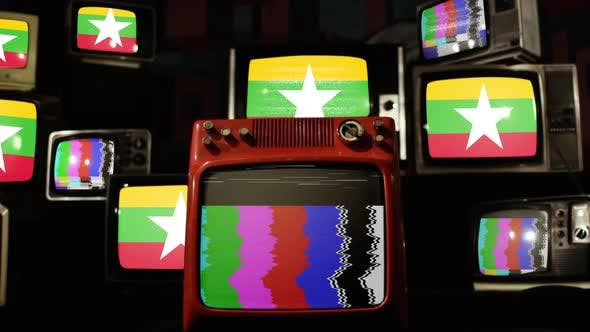 Myanmar flag on a Retro TV Wall.