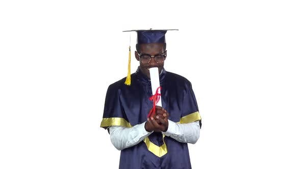 Thumbnail for College Graduate. Student with Diploma. Slow Motion. White