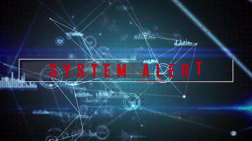 Systemwarnungstext gegen das Netz von Verbindungen