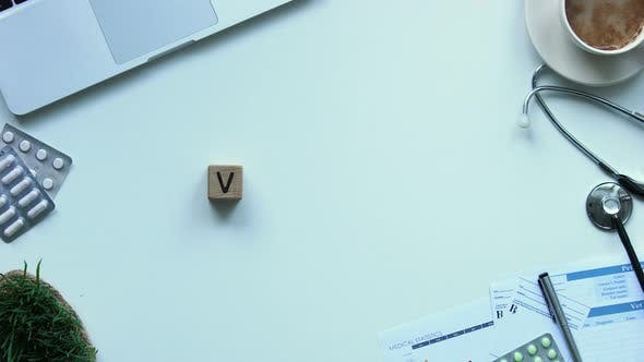 Thumbnail for Virus Word Made of Wooden Cubes on Table, Stop Disease Spreading, Vaccination