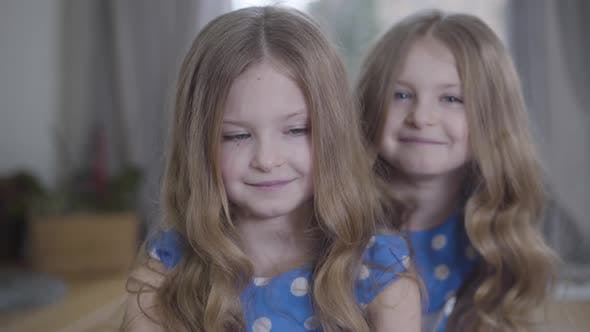 Thumbnail for Close-up of Little Cute Brunette Caucasian Girl with Grey Eyes Looking at Camera As Her Twin Sister