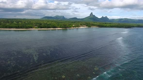 Thumbnail for Aerial Over Mauritius Island Lagoon Along the Coast with Foamy Waves