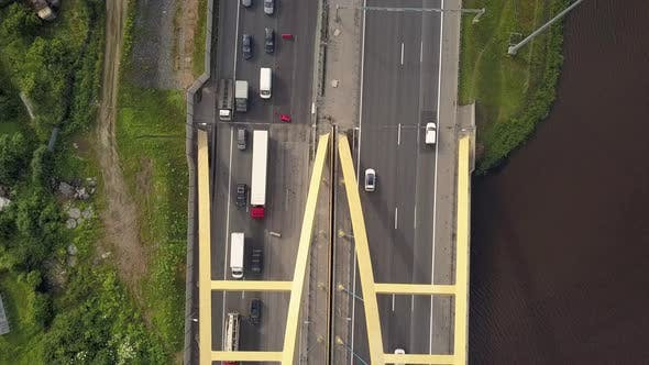 Thumbnail for Aerial Vertical Shot. Cars Driving By the Road on the Bridge.