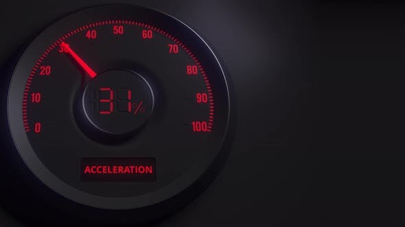 Red and Black Acceleration Meter or Indicator
