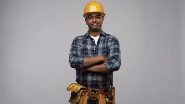 Thumbnail for Happy Indian Worker or Builder with Crossed Arms