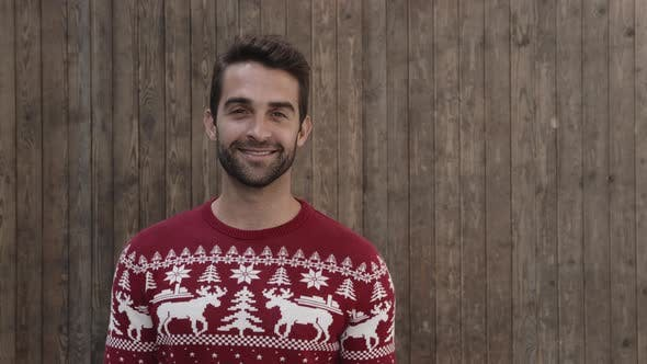 Smiling Guy In Christmas Jumper
