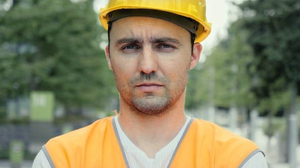 Thumbnail for Serious Confident Construction Worker Looking Co Camera.