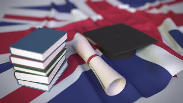 Graduation Cap and Diploma on Theflag of the UK