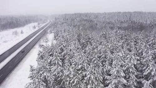Beautiful Landscape with Road and Conifer Forest on Snowy Winter Day