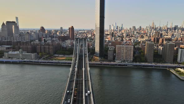 Aerial View of Lower Manhattan, New York Over Manhattan Bridge