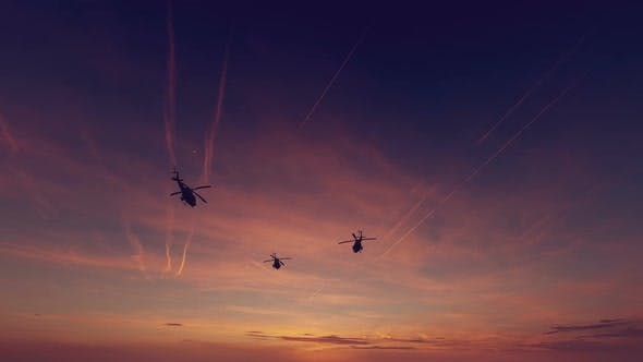 Military Helicopter - Sunset